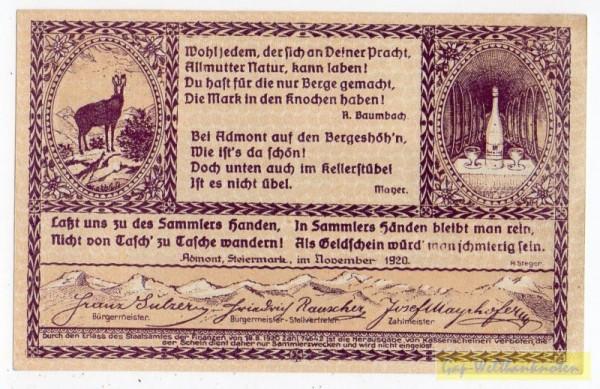 Dr. bds. dunkelbraunviolett, Bild grau - (Sie sehen ein Musterbild, nicht die angebotene Banknote)