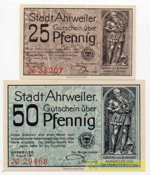 25, 50 Pf, Udr. braun blau - (Sie sehen ein Musterbild, nicht die angebotene Banknote)