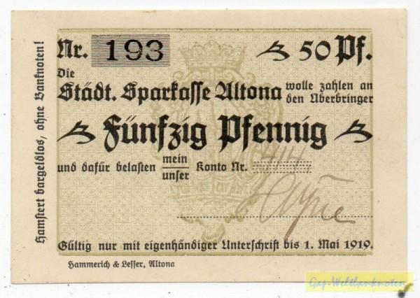 oD, gedr Scheck a. Städt. Sparkasse, mit Konto 414, o.St - (Sie sehen ein Musterbild, nicht die angebotene Banknote)