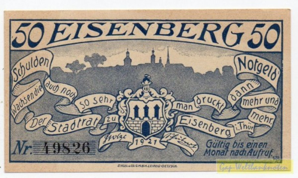 1921, mit Raster - (Sie sehen ein Musterbild, nicht die angebotene Banknote)