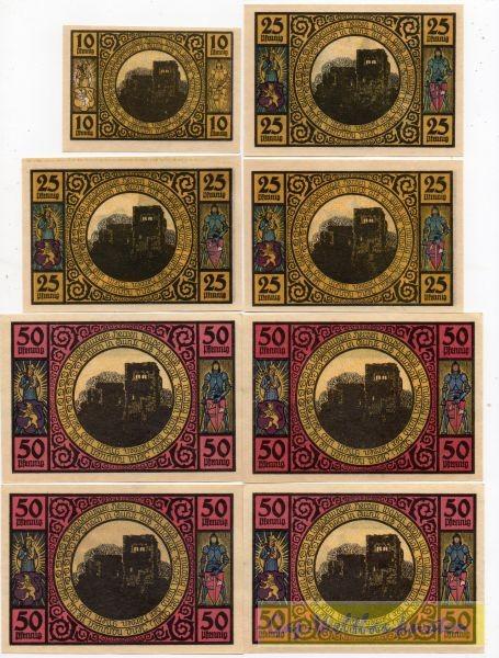1921, 10, 3x25, 4x50 Pf - (Sie sehen ein Musterbild, nicht die angebotene Banknote)