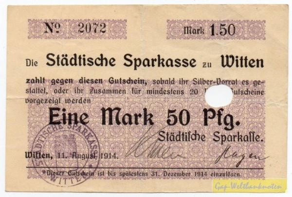 """11.8.14, oben rechts """"Mark"""", Papier II, St A, entw. - (Sie sehen ein Musterbild, nicht die angebotene Banknote)"""
