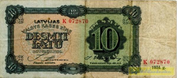 1934, Us. 10/11, K - (Sie sehen ein Musterbild, nicht die angebotene Banknote)