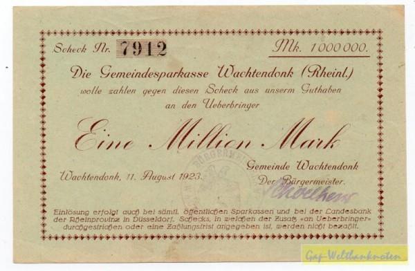 """11.8.23, """"M"""" spitz, <<an Überbringer>> - (Sie sehen ein Musterbild, nicht die angebotene Banknote)"""