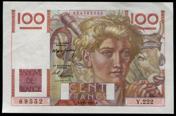 Gargam/Rousseau, 22.1.49 - (Sie sehen ein Musterbild, nicht die angebotene Banknote)