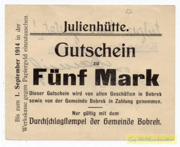 """oD - 1.9.14, mit PSt.,""""Fünf Mark"""" 77 mm, entwertet - (Sie sehen ein Musterbild, nicht die angebotene Banknote)"""