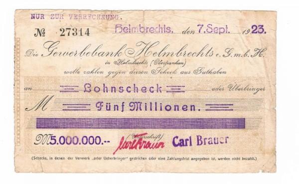 7.9.23, Scheck a. Gewerbebank, niK - (Sie sehen ein Musterbild, nicht die angebotene Banknote)