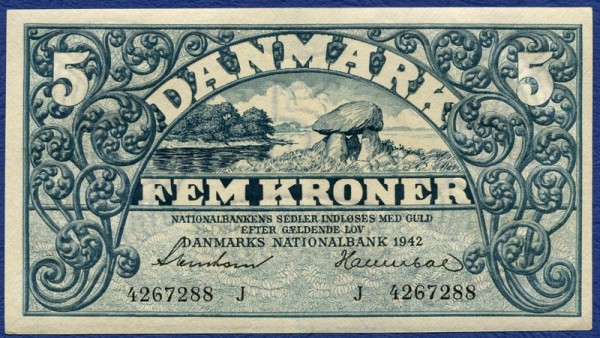 1942J - (Sie sehen ein Musterbild, nicht die angebotene Banknote)