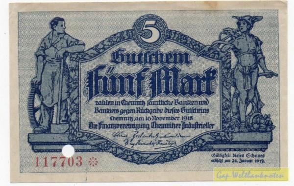 16.11.18, Wz Schippen, Druck blaugrau, entw. - (Sie sehen ein Musterbild, nicht die angebotene Banknote)