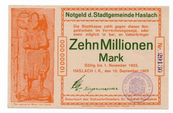 10.9.23, Dr. orange, FUS grün, KN violett gest. - (Sie sehen ein Musterbild, nicht die angebotene Banknote)