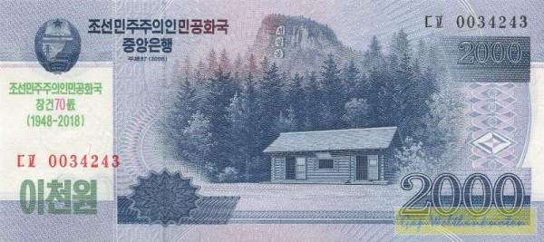 GA: 70 J. Nordkorea, grüner Üdr. auf 2000 Won - (Sie sehen ein Musterbild, nicht die angebotene Banknote)