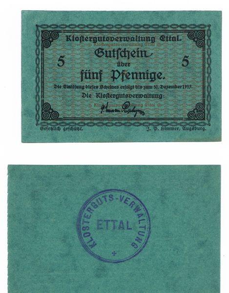o.D., Pap dklgrün gefl., Dfa. 28,5 mm, Rs. mit Stpl. A (fett) beide 5 schräger Hals - (Sie sehen ein Musterbild, nicht die angebotene Banknote)