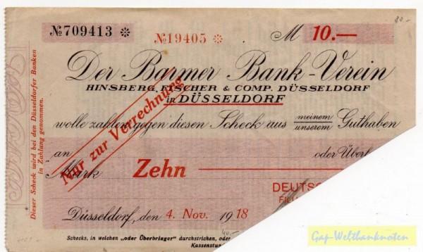 4.11.18, Deutsche Bank auf Barmer Bankverein, entw. - (Sie sehen ein Musterbild, nicht die angebotene Banknote)