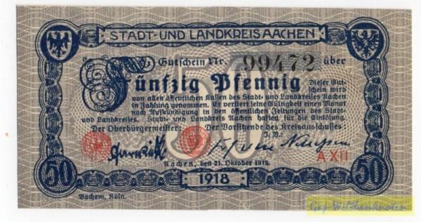 31.10.18, Pap. weiß, Wz Rheinische Wellen - (Sie sehen ein Musterbild, nicht die angebotene Banknote)