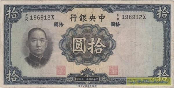 1936, Us.6, W&S - (Sie sehen ein Musterbild, nicht die angebotene Banknote)