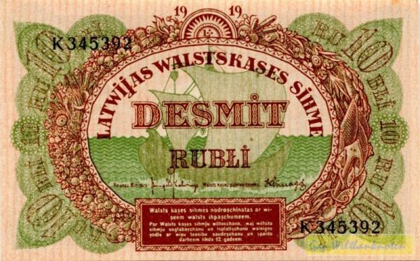 1919, Us. 6/4, Serie K - (Sie sehen ein Musterbild, nicht die angebotene Banknote)