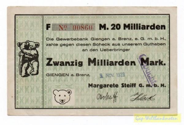 3.11.23 - (Sie sehen ein Musterbild, nicht die angebotene Banknote)