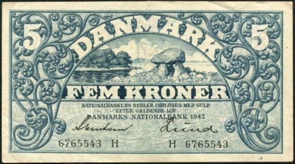 1942H, kl. Fehlecke, s. II - (Sie sehen ein Musterbild, nicht die angebotene Banknote)