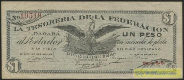 27.1.14, Saltillo - (Sie sehen ein Musterbild, nicht die angebotene Banknote)