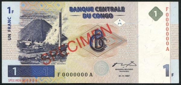 1.11.1997, G&D, F0000000A - (Sie sehen ein Musterbild, nicht die angebotene Banknote)