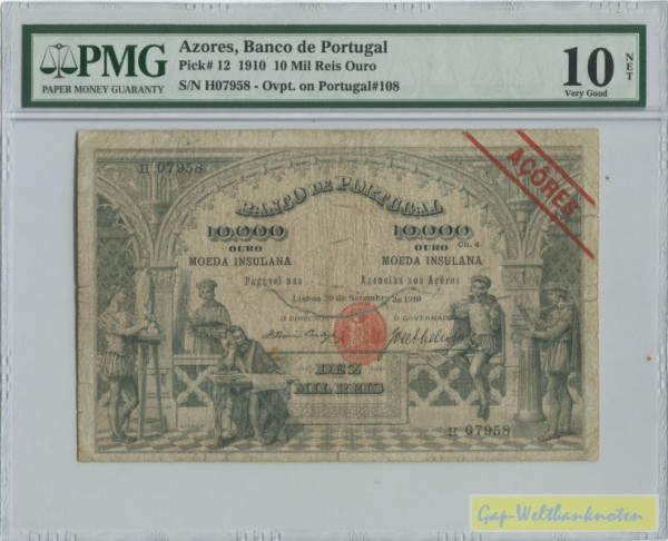 30.9.1910, langer Mittelriss - (Sie sehen ein Musterbild, nicht die angebotene Banknote)