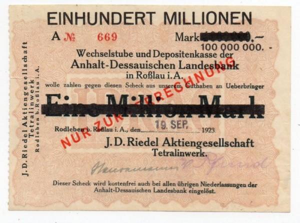 oD, Üdr. auf 1 Mio v. 19.9.23 - (Sie sehen ein Musterbild, nicht die angebotene Banknote)