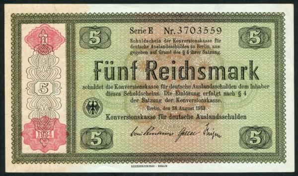 1934, D, ohne Hftl. - (Sie sehen ein Musterbild, nicht die angebotene Banknote)