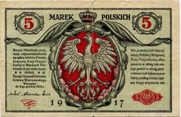 1917, B - (Sie sehen ein Musterbild, nicht die angebotene Banknote)