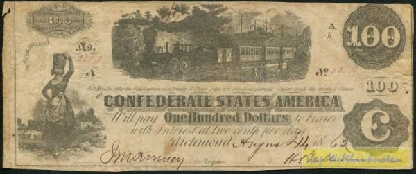 4.8.62, 11.10.1862 - (Sie sehen ein Musterbild, nicht die angebotene Banknote)