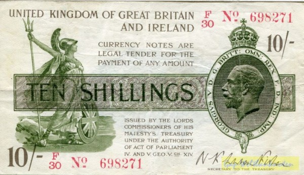 …Ireland, Us. Fisher, X/zz № KN - (Sie sehen ein Musterbild, nicht die angebotene Banknote)