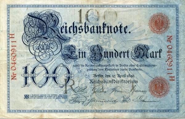 10.4.1896 - (Sie sehen ein Musterbild, nicht die angebotene Banknote)