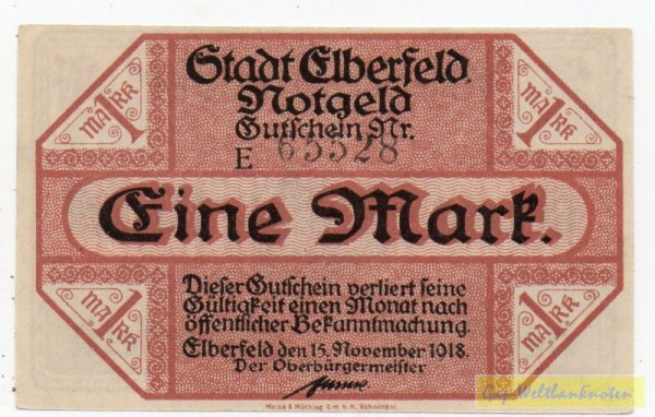 15.11.18, Wz Tropfen, KN 4,5 mm, Serie E - (Sie sehen ein Musterbild, nicht die angebotene Banknote)