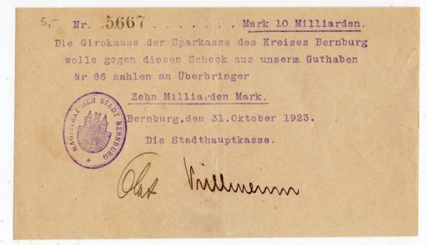 31.10.23, in Maschinenschrift - (Sie sehen ein Musterbild, nicht die angebotene Banknote)