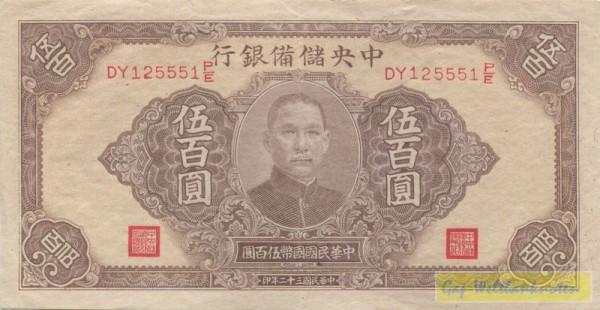 1943, Rs. Udr. türkis - (Sie sehen ein Musterbild, nicht die angebotene Banknote)