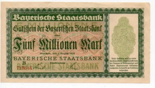 1.8.23, B, KN rot 6-stellig - (Sie sehen ein Musterbild, nicht die angebotene Banknote)