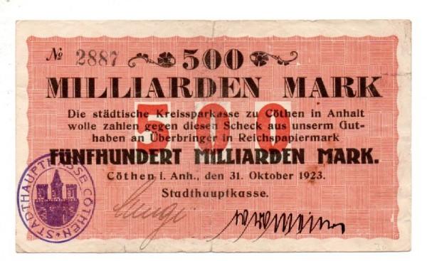 31,10.23, o.Wz. - (Sie sehen ein Musterbild, nicht die angebotene Banknote)