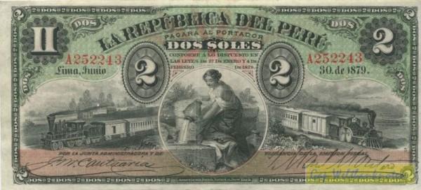 30.6.1879, Us. 2 - (Sie sehen ein Musterbild, nicht die angebotene Banknote)