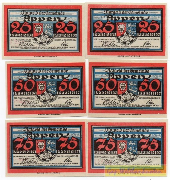 oD, 2x25, 2x50, 2x75 Pf - (Sie sehen ein Musterbild, nicht die angebotene Banknote)
