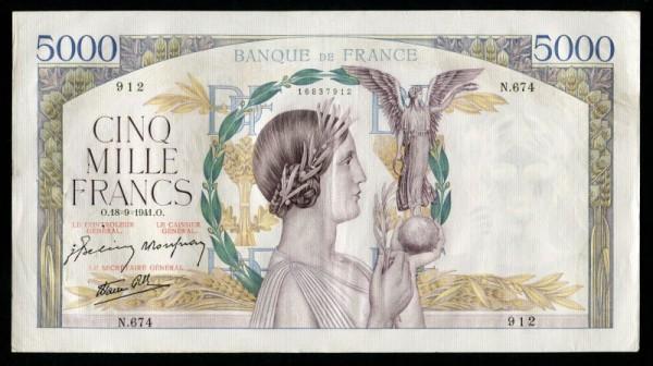 Us. Belin/Rousseau/Favre-Gilly - (Sie sehen ein Musterbild, nicht die angebotene Banknote)