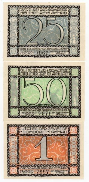 1.9.21, 25, 50 Pf, 1 Mk, KN 4,5 mm - (Sie sehen ein Musterbild, nicht die angebotene Banknote)