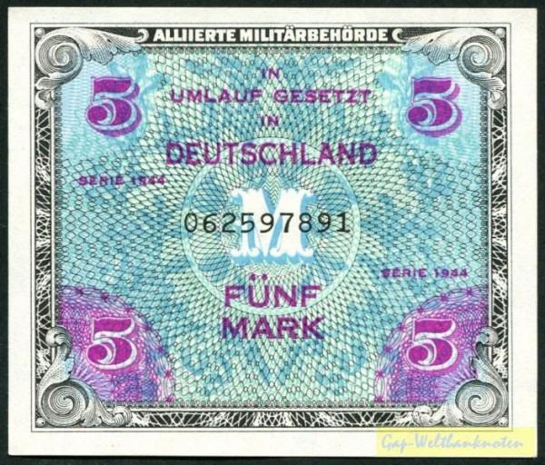 """1944, KN 9st, mit """"F"""" - (Sie sehen ein Musterbild, nicht die angebotene Banknote)"""