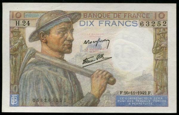 Rousseau/Favre/Gilly - (Sie sehen ein Musterbild, nicht die angebotene Banknote)
