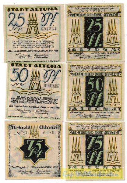 2x25, 2x50, 2x75 Pf, Wz Z-Muster - (Sie sehen ein Musterbild, nicht die angebotene Banknote)