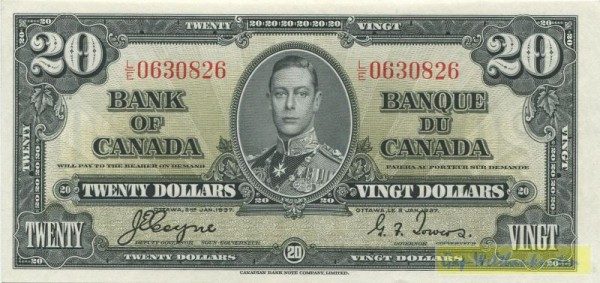 2.1.37, Coyne/Towers - (Sie sehen ein Musterbild, nicht die angebotene Banknote)