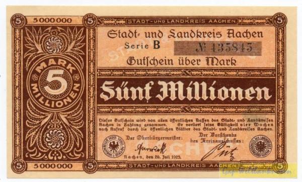 20.7.23, Serie B, № KN Type II 4,5 mm, Druck dunkelbraun - (Sie sehen ein Musterbild, nicht die angebotene Banknote)