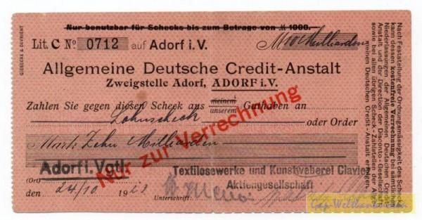 24.10.23, Postkartenscheck - (Sie sehen ein Musterbild, nicht die angebotene Banknote)