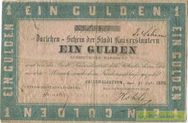 31.7.1870, Prägestempel - (Sie sehen ein Musterbild, nicht die angebotene Banknote)