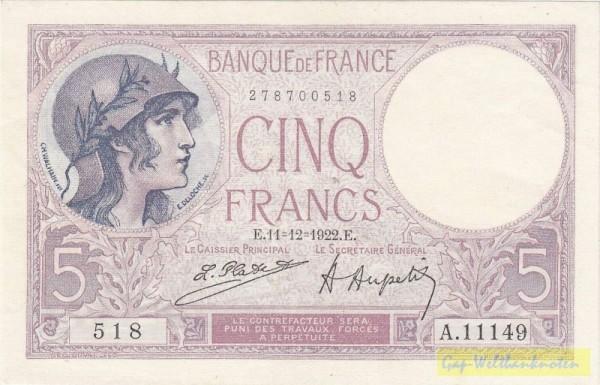 Platet/Aupetit, 18.10.22, 24.1.23, 4.7.25 - (Sie sehen ein Musterbild, nicht die angebotene Banknote)