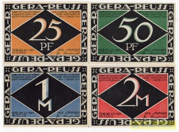 1.5.21, 25, 50 Pf, 1, 2 Mk, o.Wz. o.Serie - (Sie sehen ein Musterbild, nicht die angebotene Banknote)