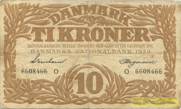 1939O - (Sie sehen ein Musterbild, nicht die angebotene Banknote)